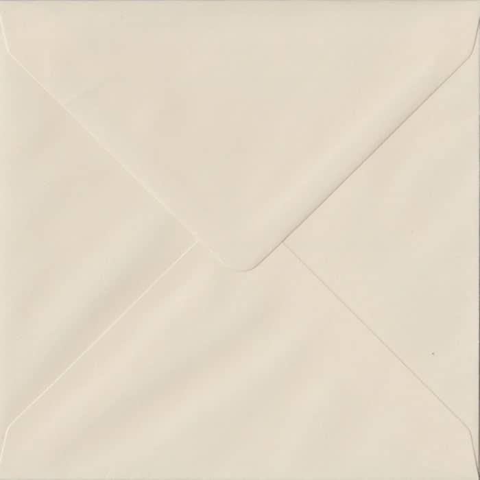 100 Square Cream Envelopes. Ivory. 155mm x 155mm. 100gsm paper. Gummed Flap.