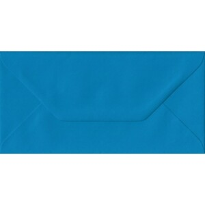 100 DL Blue Envelopes. Kingfisher Blue. 110mm x 220mm. 100gsm paper. Gummed Flap.