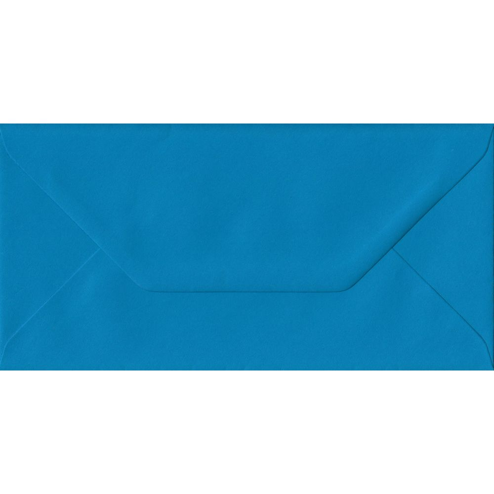 100 DL Blue Envelopes. Kingfisher Blue. 110mm x 220mm. 100gsm paper. Gummed Flap.