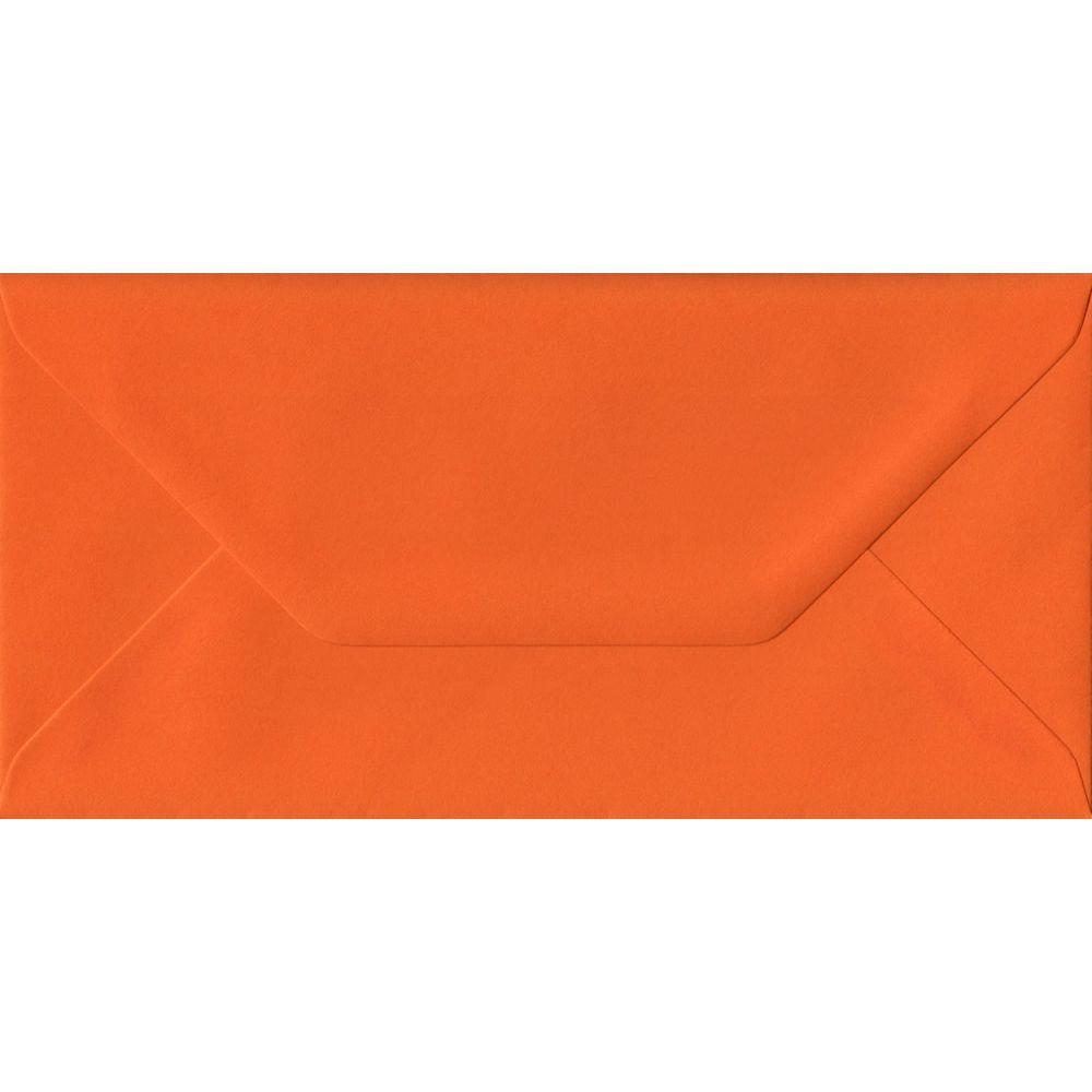 100 DL Orange Envelopes. Orange. 110mm x 220mm. 100gsm paper. Gummed Flap.