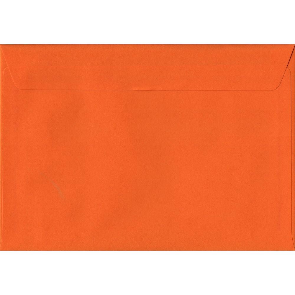 100 A5 Orange Envelopes. Orange. 162mm x 229mm. 100gsm paper. Peel/Seal Flap.