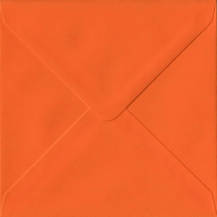 100 Square Orange Envelopes. Orange. 155mm x 155mm. 100gsm paper. Gummed Flap.