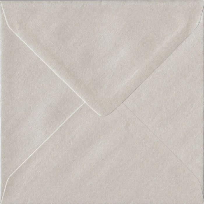 100 Square Pearlescent Oyster Envelopes. 155mm x 155mm. 100gsm paper. Gummed Flap.