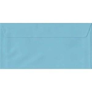 100 DL Blue Envelopes. Blue. 110mm x 220mm. 100gsm paper. Peel/Seal Flap.