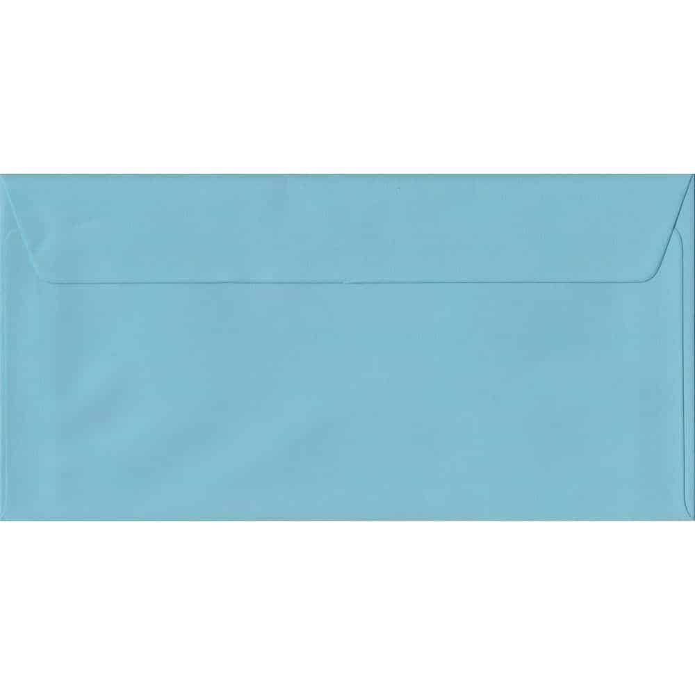 100 DL Blue Envelopes. Blue. 110mm x 220mm. 100gsm paper. Peel/Seal Flap.