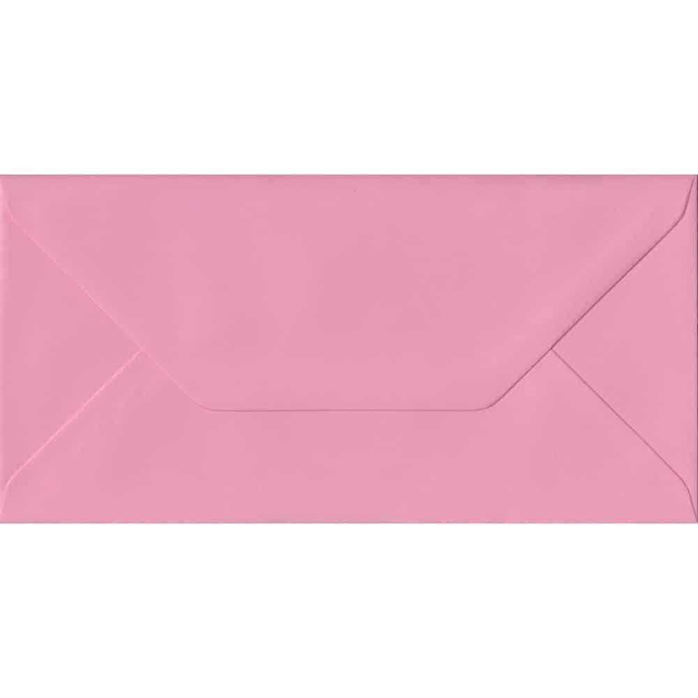 100 DL Pink Envelopes. Pink. 110mm x 220mm. 100gsm paper. Gummed Flap.