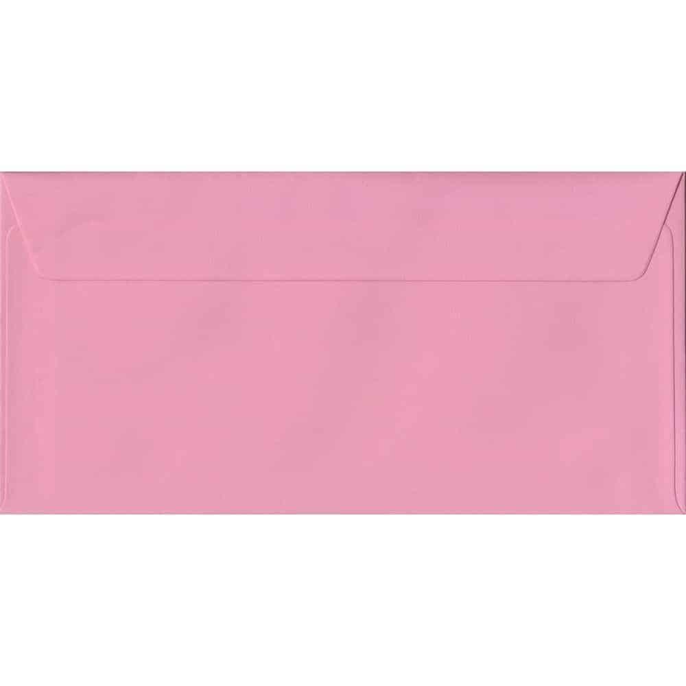 100 DL Pink Envelopes. Pink. 110mm x 220mm. 100gsm paper. Peel/Seal Flap.