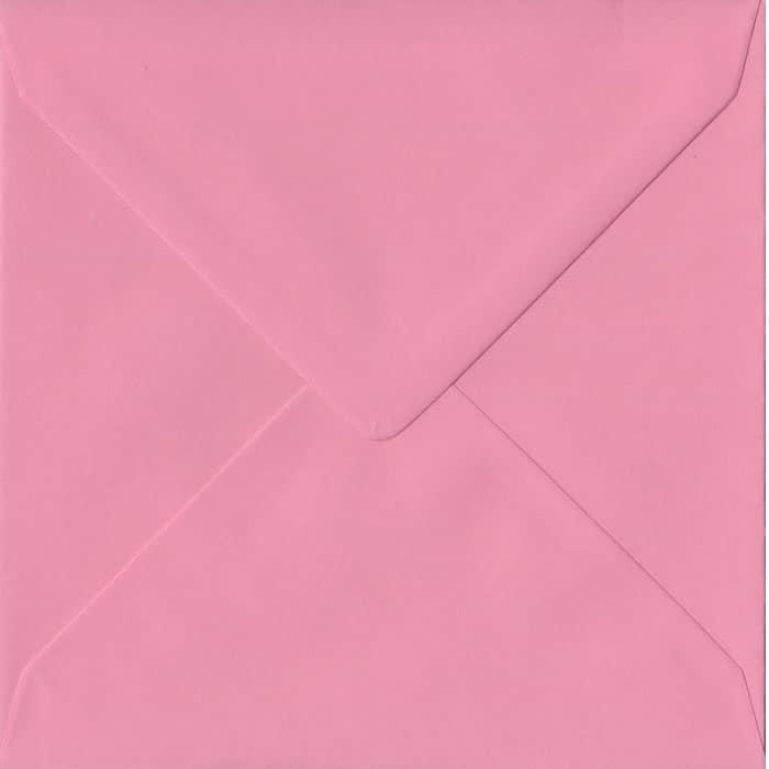 100 Square Pink Envelopes. Pink. 155mm x 155mm. 100gsm paper. Gummed Flap.