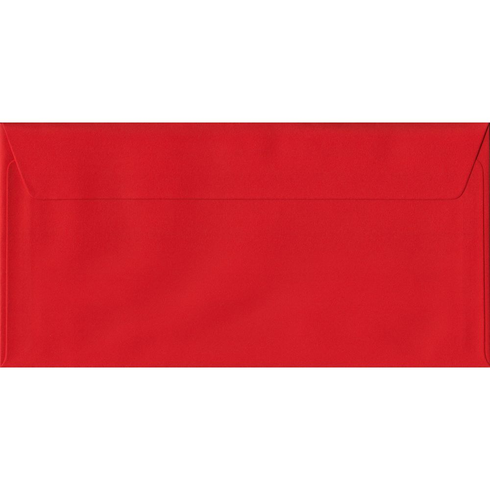 100 DL Red Envelopes. Poppy Red. 110mm x 220mm. 100gsm paper. Peel/Seal Flap.
