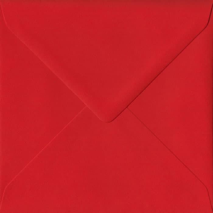 100 Square Red Envelopes. Poppy Red. 155mm x 155mm. 100gsm paper. Gummed Flap.