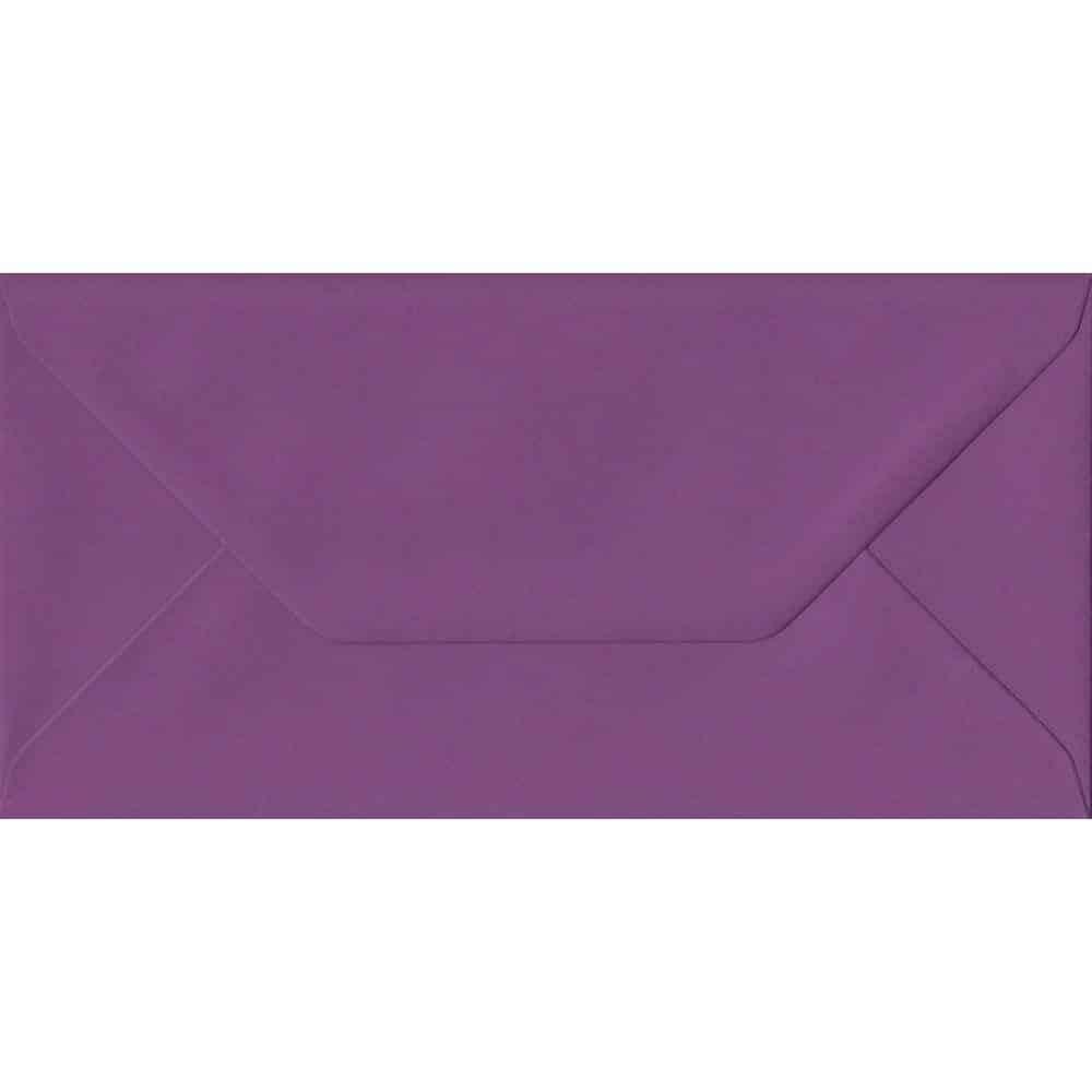100 DL Purple Envelopes. Purple. 110mm x 220mm. 100gsm paper. Gummed Flap.
