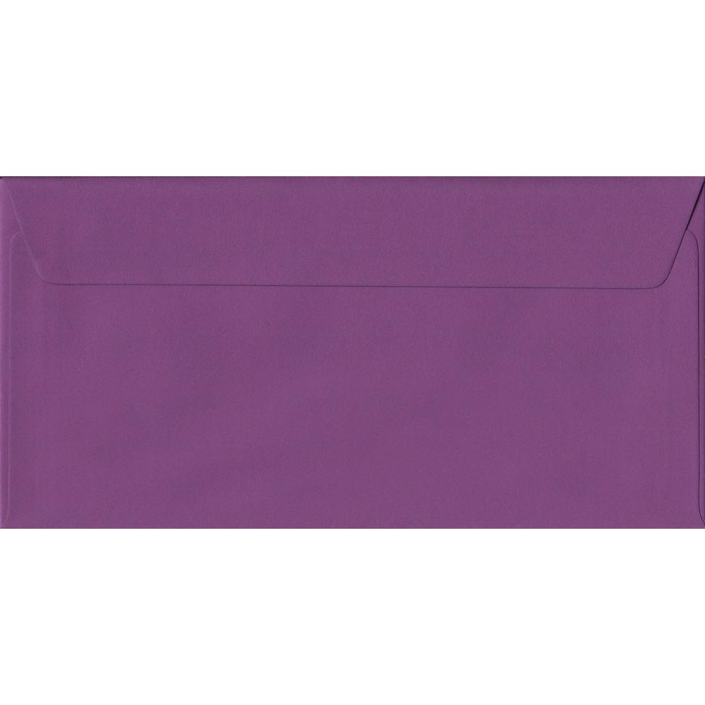 100 DL Purple Envelopes. Purple. 110mm x 220mm. 100gsm paper. Peel/Seal Flap.