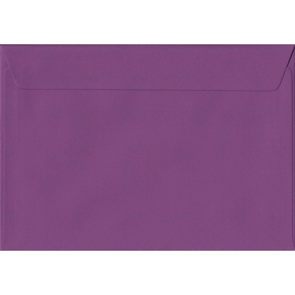 100 A5 Purple Envelopes. Purple. 162mm x 229mm. 100gsm paper. Peel/Seal Flap.