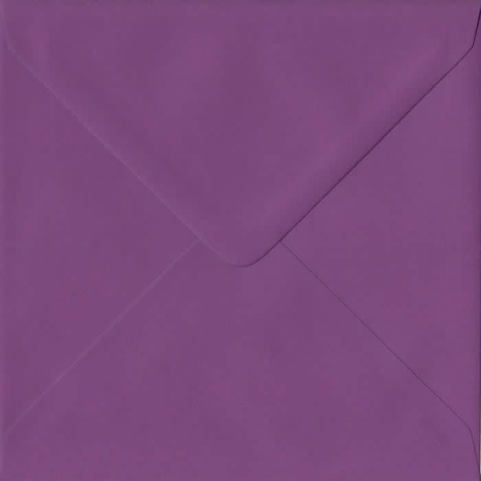 100 Square Purple Envelopes. Purple. 155mm x 155mm. 100gsm paper. Gummed Flap.