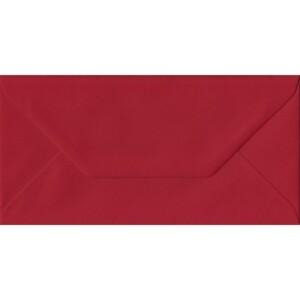 100 DL Red Envelopes. Scarlet Red. 110mm x 220mm. 100gsm paper. Gummed Flap.