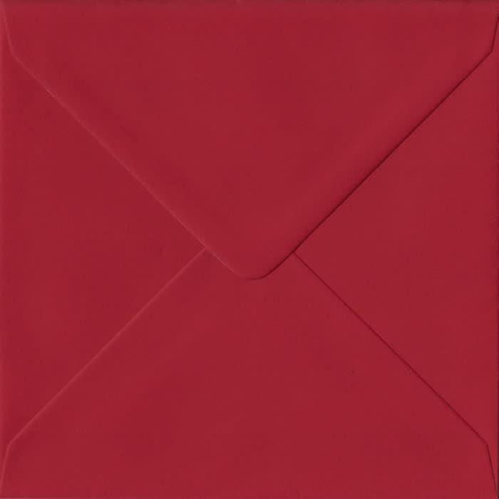 100 Square Red Envelopes. Scarlet Red. 155mm x 155mm. 100gsm paper. Gummed Flap.
