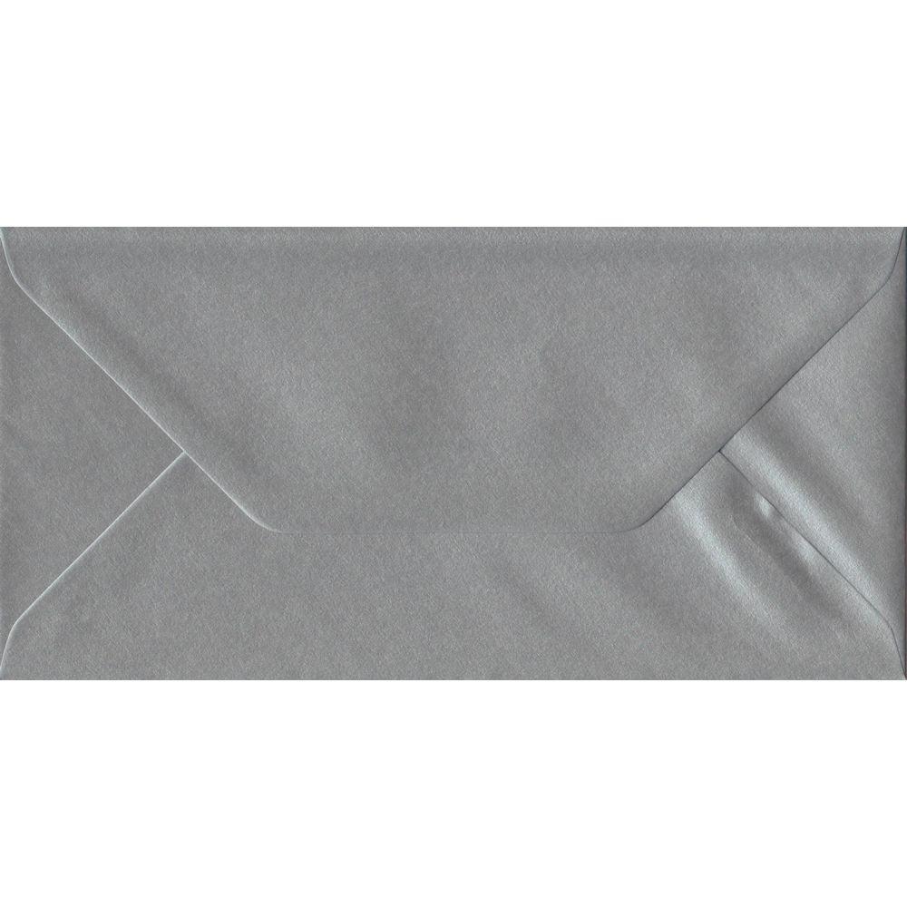 100 DL Silver Envelopes. Metallic Silver. 110mm x 220mm. 100gsm paper. Gummed Flap.