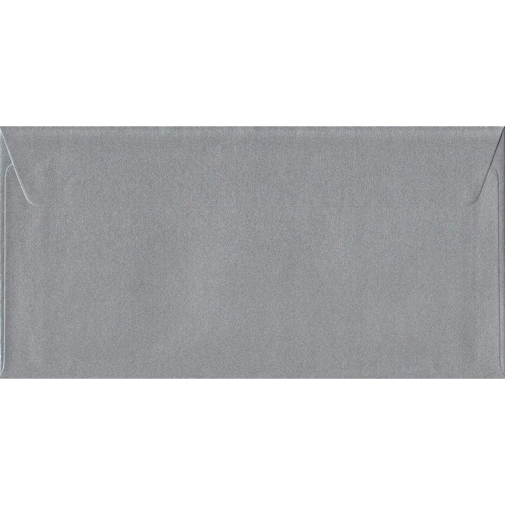 100 DL Silver Envelopes. Metallic Silver. 110mm x 220mm. 100gsm paper. Peel/Seal Flap.