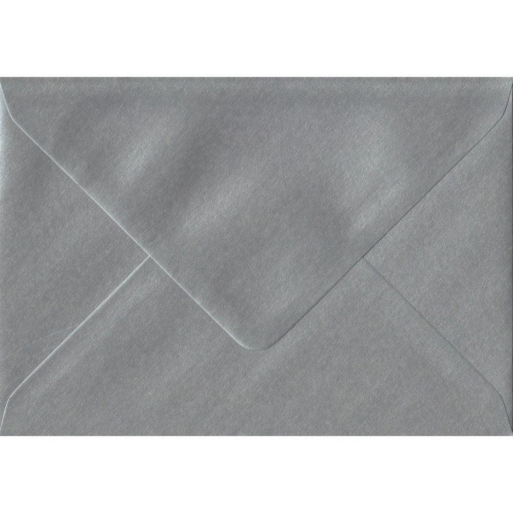 100 A6 Silver Envelopes. Metallic Silver. 114mm x 162mm. 100gsm paper. Gummed Flap.