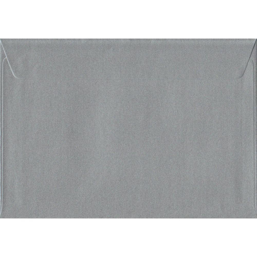 100 A5 Silver Envelopes. Metallic Silver. 162mm x 229mm. 100gsm paper. Peel/Seal Flap.