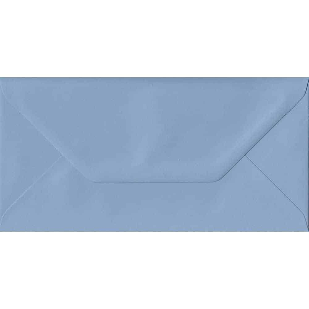 100 DL Blue Envelopes. Wedgwood Blue. 110mm x 220mm. 100gsm paper. Gummed Flap.