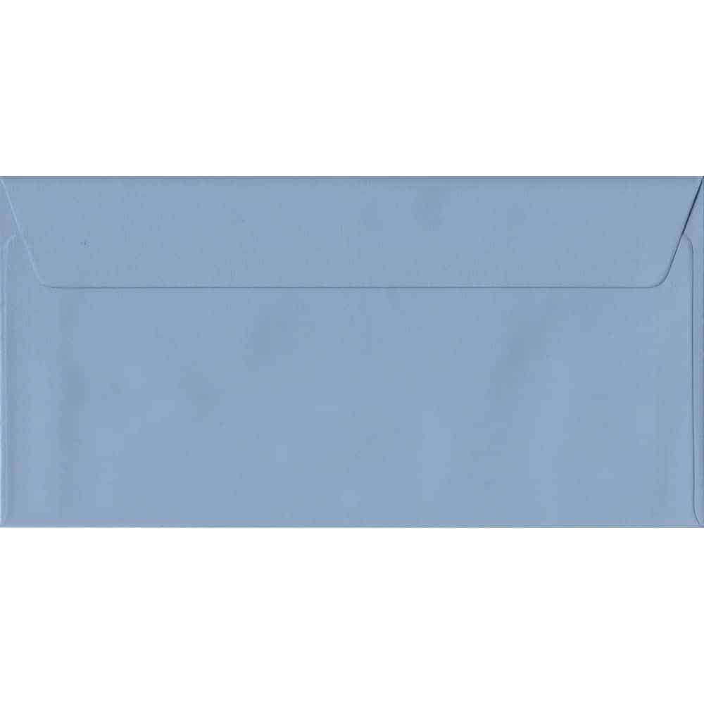 100 DL Blue Envelopes. Wedgwood Blue. 110mm x 220mm. 100gsm paper. Peel/Seal Flap.