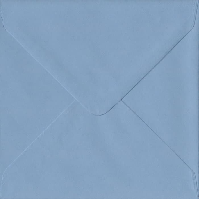 100 Square Blue Envelopes. Wedgwood Blue. 155mm x 155mm. 100gsm paper. Gummed Flap.