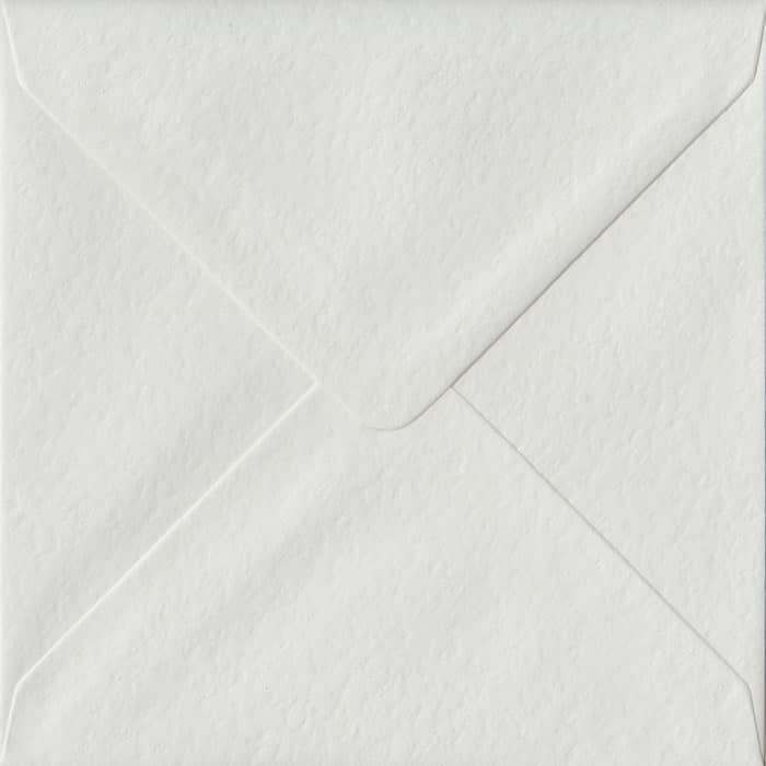 100 Square White Envelopes. White Hammer. 155mm x 155mm. 100gsm paper. Gummed Flap.