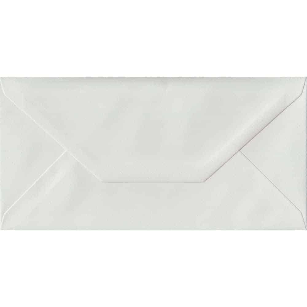 100 DL White Envelopes. White Laid. 110mm x 220mm. 100gsm paper. Gummed Flap.