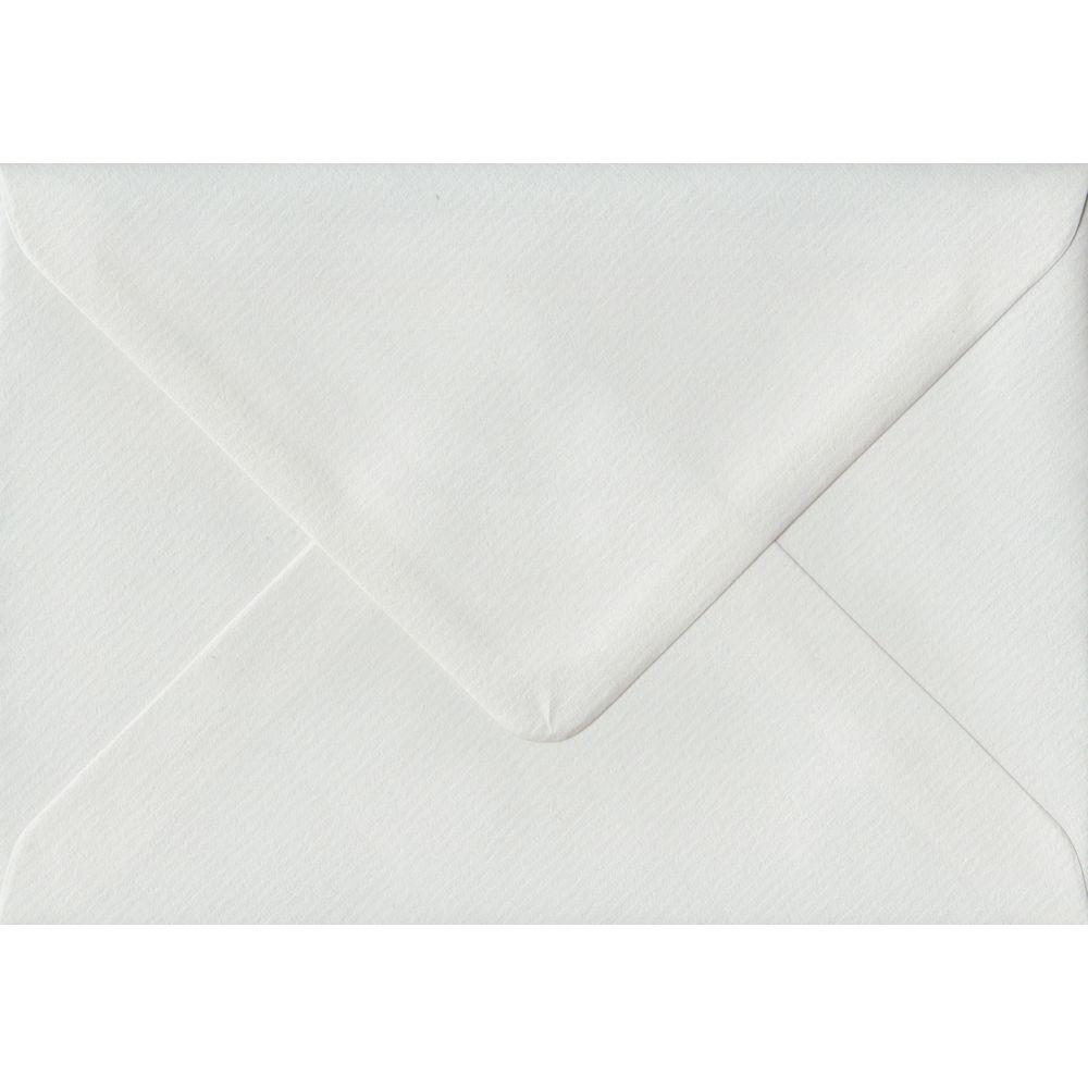 100 A6 White Envelopes. White Laid. 114mm x 162mm. 100gsm paper. Gummed Flap.