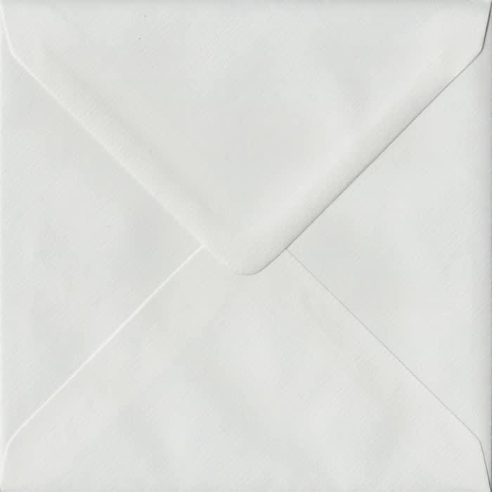 100 Square White Envelopes. White Laid. 155mm x 155mm. 100gsm paper. Gummed Flap.