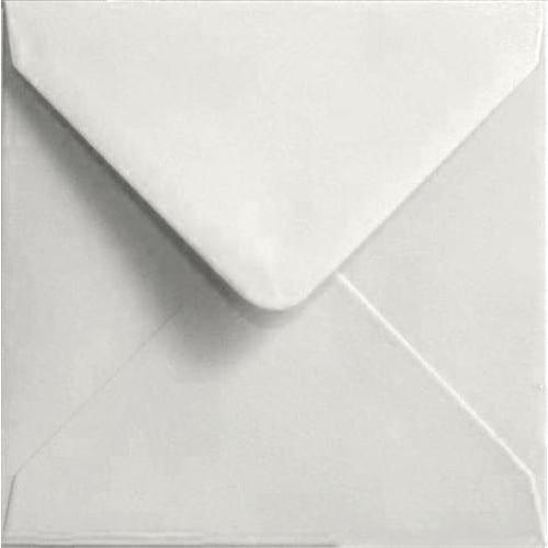 100 Square White Envelopes. White. 155mm x 155mm. 100gsm paper. Gummed Flap.