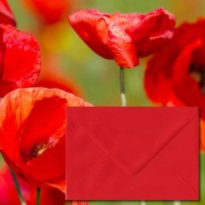 Poppy Red Coloured Envelopes