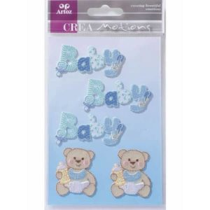 Blue Baby Text And Teddy Craft Embellishment By Artoz