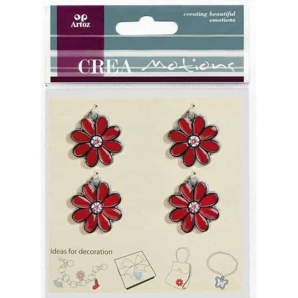 Red Flower Charms By Artoz