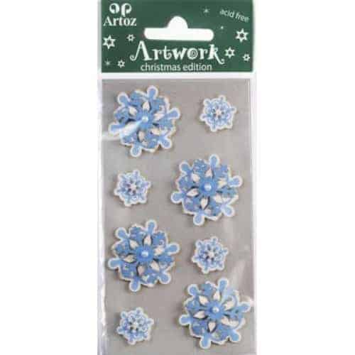 Blue Snowflake Christmas Card Embellishments By Artoz