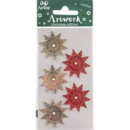 Red And Silver Star Craft Embellishment By Artoz
