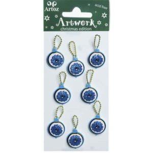 Blue Flower Glitter Bauble Craft Embellishment By Artoz