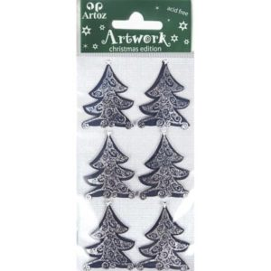 Blue Christmas Tree Card Embellishments By Artoz