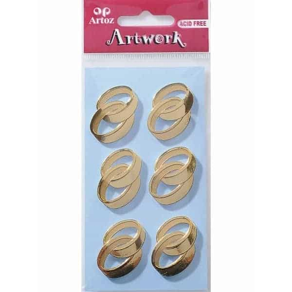 Gold Double Rings Craft Embellishment By Artoz