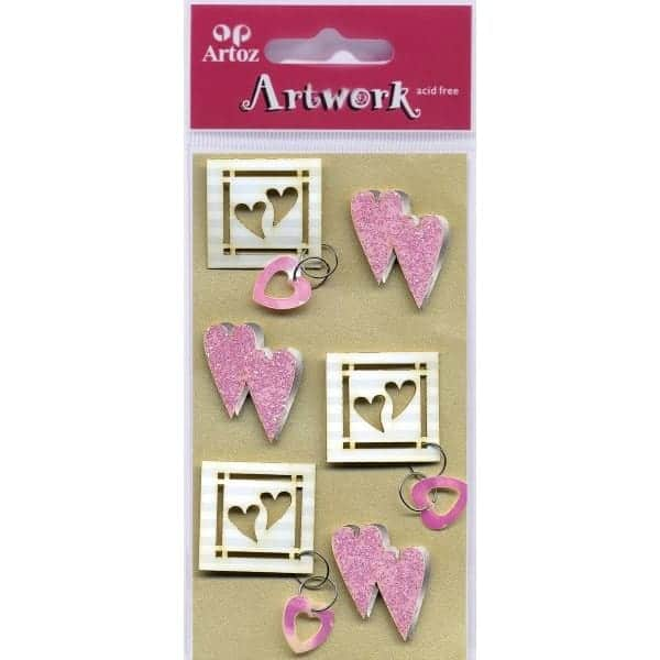 Pink Hearts Craft Embellishment By Artoz