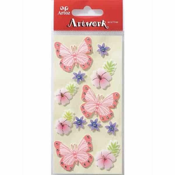 Butterflies And Flowers Craft Embellishment By Artoz