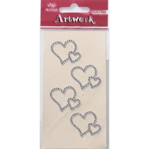 Crystal Double Hearts Craft Embellishment By Artoz
