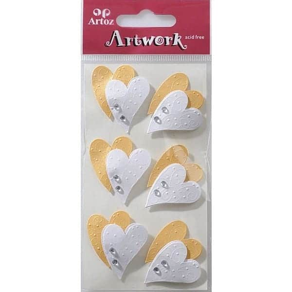 White And Gold Hearts Craft Embellishment By Artoz