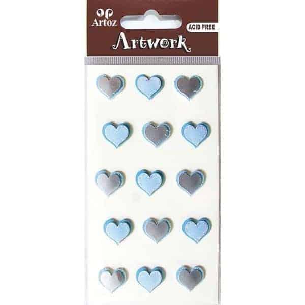 Assorted Blue Hearts Craft Embellishment By Artoz