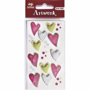 Curved Coloured Hearts Craft Embellishment By Artoz