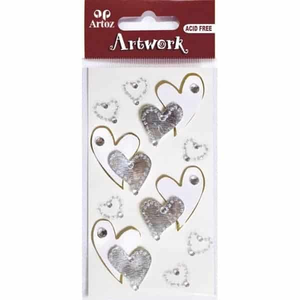 Curved Silver White Hearts Craft Embellishment By Artoz