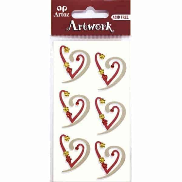 Red Gold Hearts Craft Embellishment By Artoz