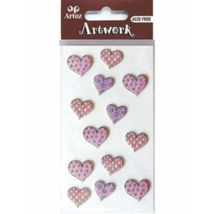 Assorted Patterned Pink Hearts Craft Embellishment By Artoz