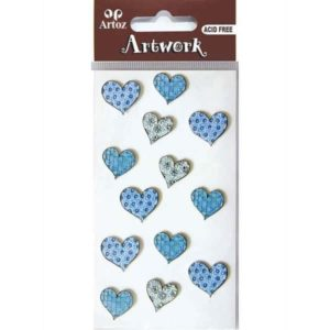 Assorted Patterned Blue Hearts Craft Embellishment By Artoz